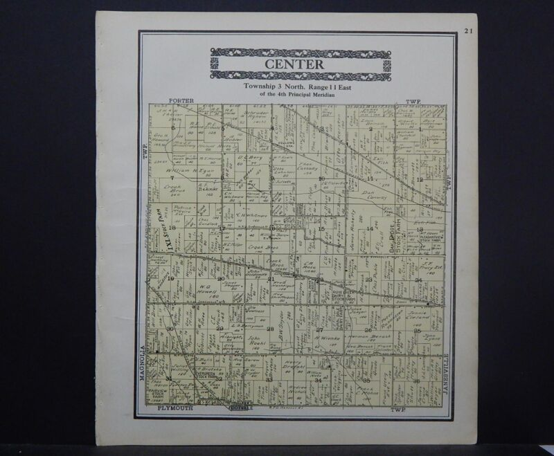 Wisconsin, Rock County Map 1917 Township of Center L22#87