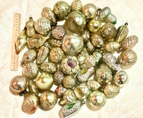 Vintage glass Christmas ornaments in one amazing color! 50 pieces.