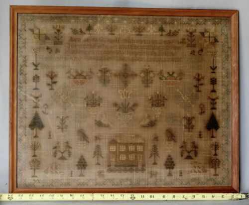 Antique American sampler 1812 Hannah Crofton Newsom Portland Maine school