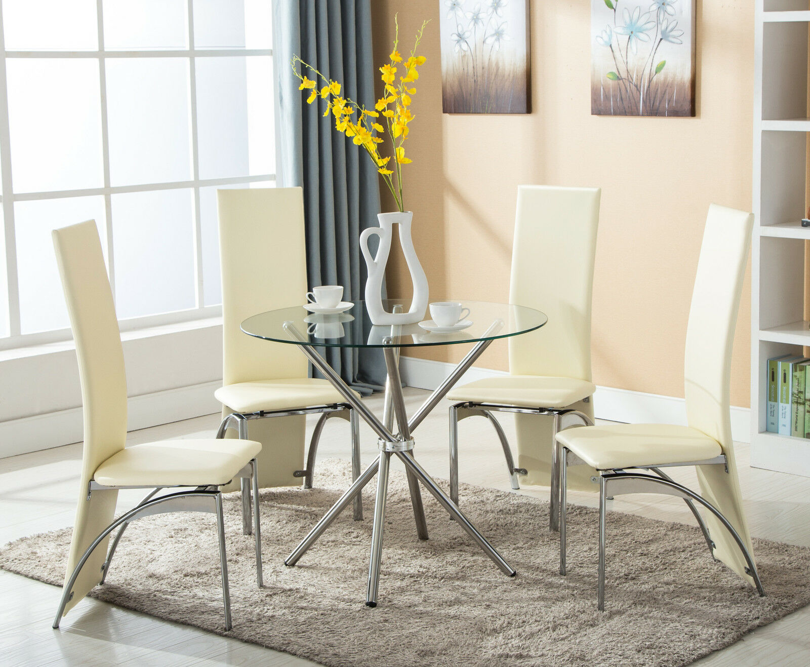 Terrific Details About 4 Chairs 5 Piece Round Glass Dining Table Set Kitchen Room Breakfast Furniture Short Links Chair Design For Home Short Linksinfo