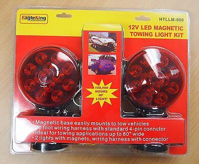 12V LED Magnetic Towing Trailer Light Kit 24 LEDS Multi-Function DOT