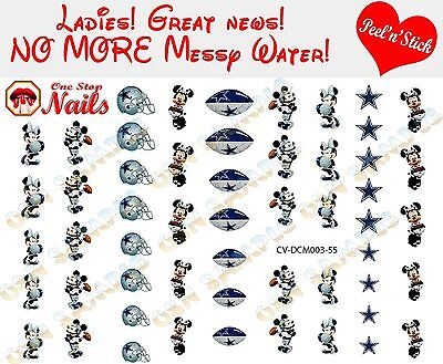 Dallas Cowboys Mickey and Minnie Clear Vinyl PEEL and STICK nail decals/stickers
