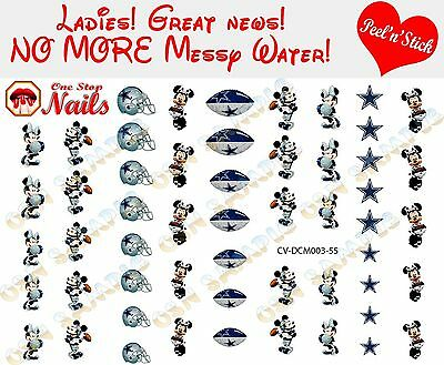 Dallas Cowboys Mickey and Minnie Clear Vinyl PEEL and STICK nail decals/stickers](Dallas Cowboys Nail Stickers)