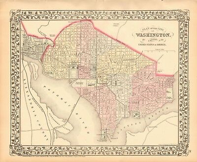 1874 ANTIQUE MAP - USA - PLAN OF WASHINGTON