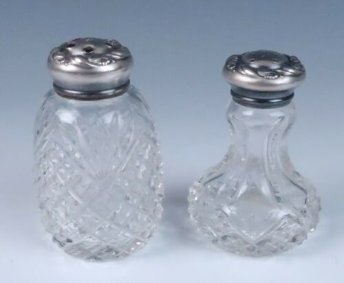 Antique ABP Sterling Silver Salt & Pepper Shakers Brilliant Cut Glass Pot 925