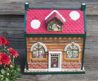 Christmas Santa And Elf House Music Box with Flip Lid & Drawer S F Company - Musical Elf Hat