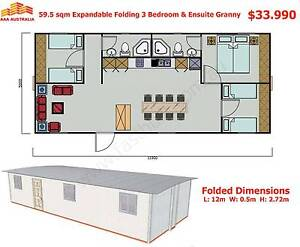 59.5sqm Expandable, Folding Granny Flat Cabin, 2 Hours to Set Up Mount Annan Camden Area Preview