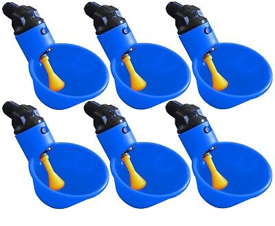 6 Automatic Waterer Drinker Cups Chicken Coop Poultry Chook Bird Turkey Drink