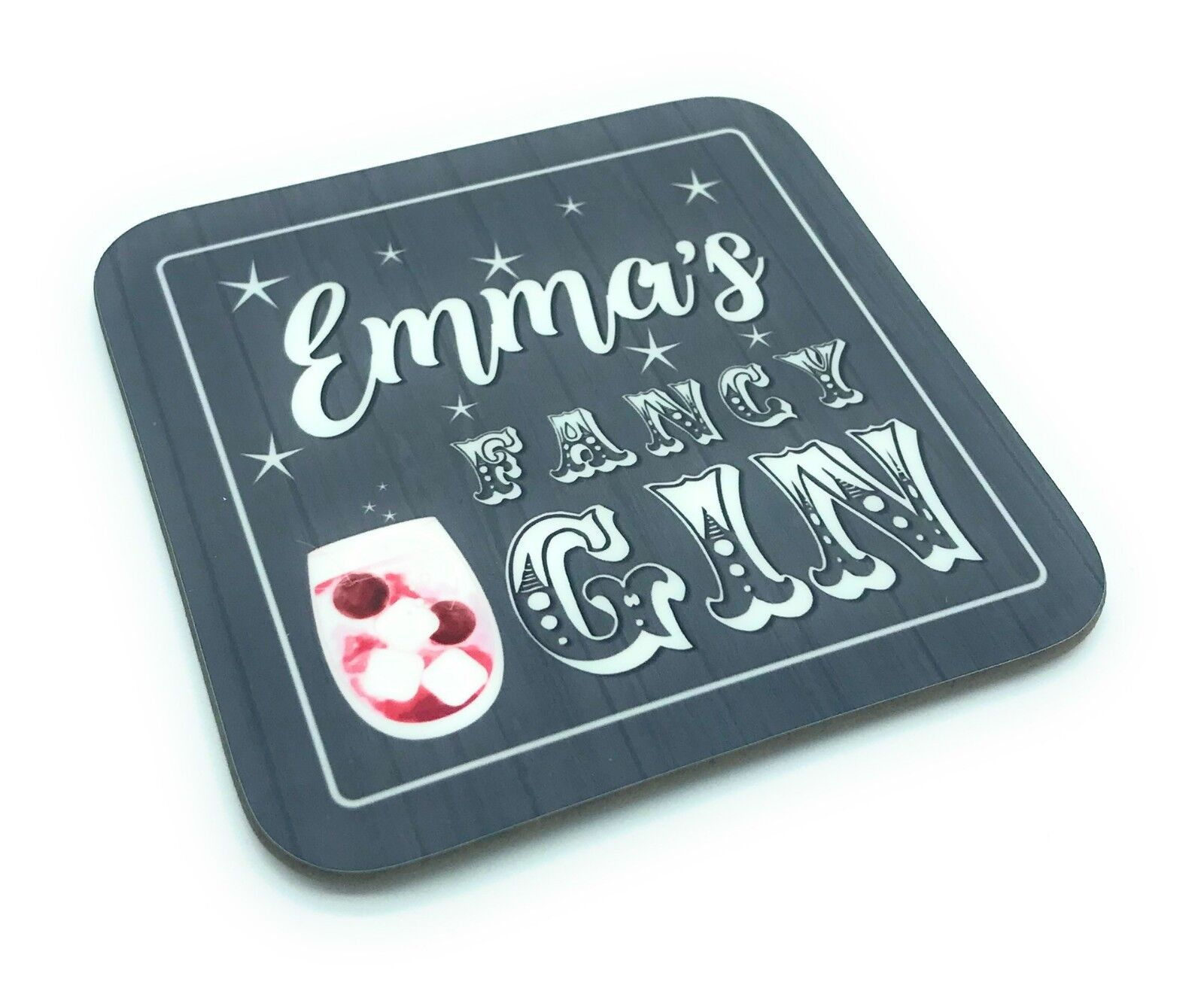 Ideal for Gift Personalised Gin drinks glass coaster // mat Keep off Gin Glass