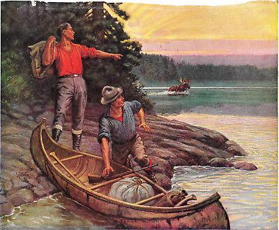Signed Walter Haskell Hinton, Moose, Hunter Salesman Sample Calendar Print 1940s