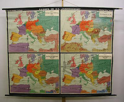 Schulwandkarte schöne alte Wandkarte Europakarte 20.Jahrh 203x165c ~1954 vintage