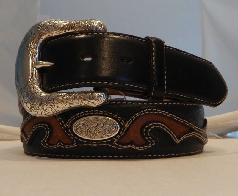 Justin New Black Concho Overlay Leather Belt  Size 36  NWT  C11533