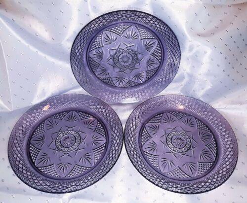 """Set of 3 Vintage Purple Amethyst Pressed Glass Salad Plates USA 8"""""""