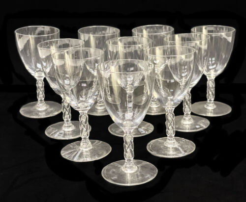 10 Rene Lalique France Crystal Glass Clear Sherry Wine Goblets in Guebwiller