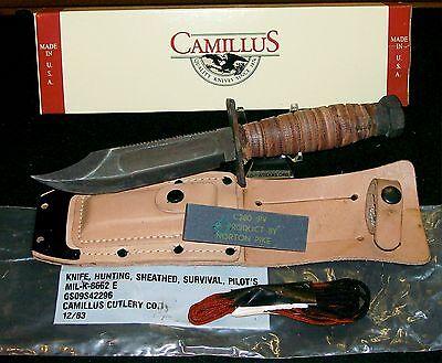 Camillus Fighting Survival Knife US Pilots Knives W/Box, Sheath,Sharpening Stone