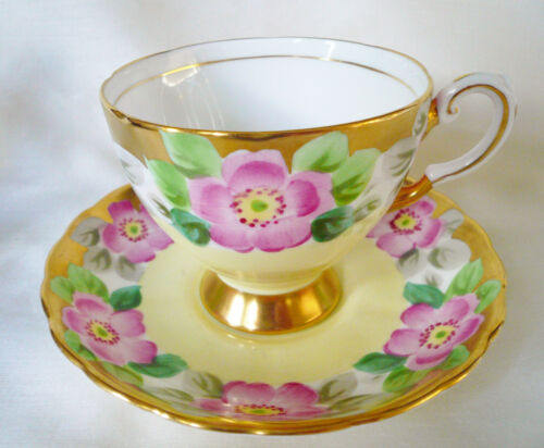 Tuscan England Yellow ~ PINK BLOSSOMS ~ Floral Teacup tea cup