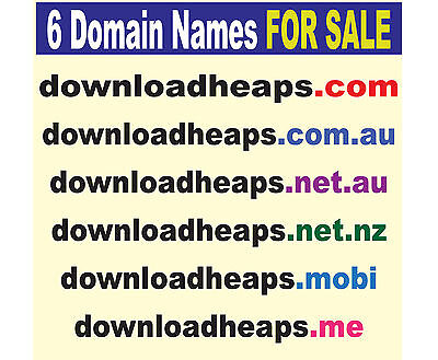 6x Domain Names for Sale, www.downloadheaps.com_.au_nz_net_.me_.mobi