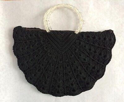 1940s Handbags and Purses History Vintage 1940s Black crochet purse lucite handles $85.00 AT vintagedancer.com