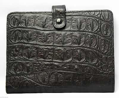Write Track Usa Black Croc Embossed Genuine Leather Notebook Papers Folder Folio