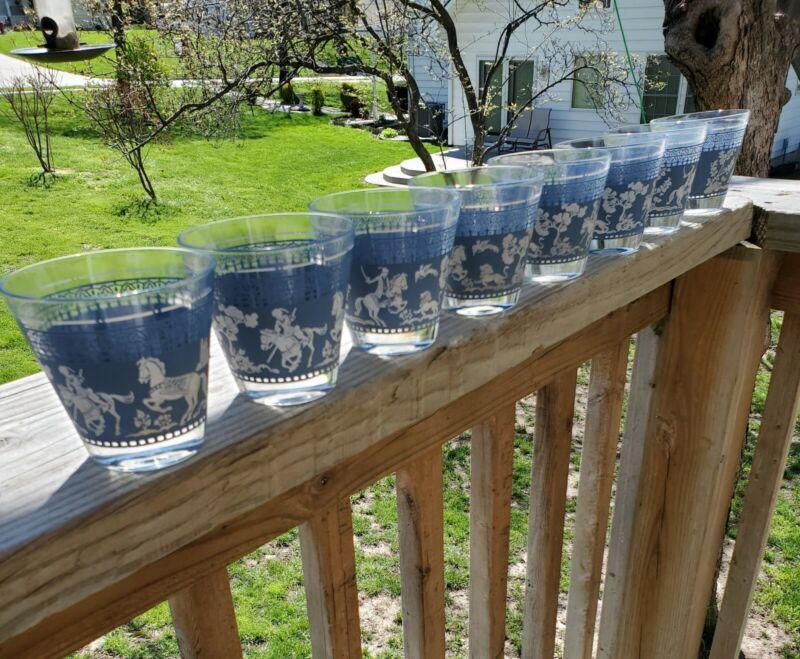 VINTAGE SET OF 8 GLASSES - JEANNETTE WEDGEWOOD BLUE ROMAN GRECIAN - HAZEL ATLAS