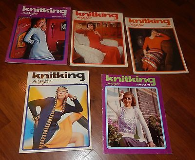 LOT OF 5 KNITKING MAGAZINES 1974 & 1975 VOL 11 NO 1 2 3 6 MARCH/APRIL 75