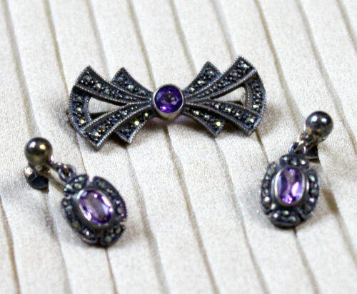 Art Deco Sterling Amethyst Set Brooch and Clip On Earrings Silver Marcasite