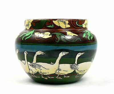 Antique Victorian Foley Intarsio Shelley Jardiniere Pot Planter Vase Geese