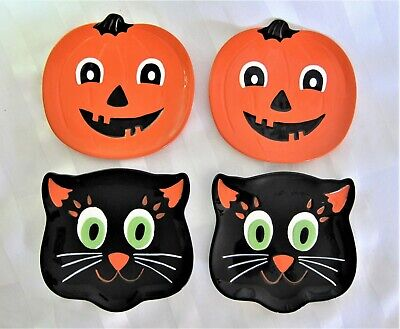 Halloween Thanksgiving Orange PUMPKINS & BLACK CATS Dessert Appetizer Plates S/4 (Halloween Appetizers Desserts)
