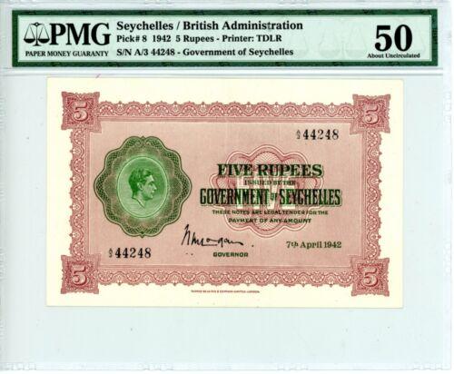Seychelles ... P-8 … 5 Rupees … 1942 … *AU* ... PMG 50