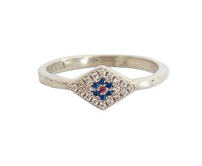 NEW NIALAYA Ring Authentic Womens Clear Blue Red CZ 925 Silver US8 / EU58