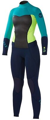 Quiksilver Roxy Womens Blue Teal Neon Syncro 3/2mm Back Zip Wetsuit NWT Size 14
