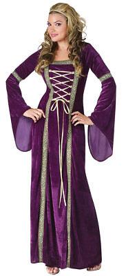 Renaissance Deluxe Lady Fun World Costume Purple Womens Halloween Medium/Large - Purple Renaissance Costumes