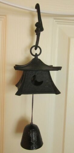 Japanese VINTAGE Hanging Chime Bell Cast Iron Artisan Work JD257