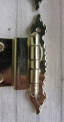 NOS Vtg 4 Sets Gold Tone Modern MCM Colonial Cabinet Offset Hinges Ajax #938