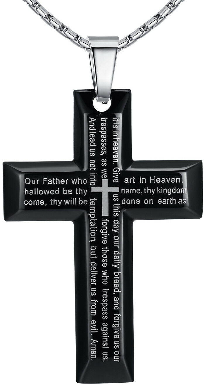 Mens Stainless Steel Large Bible Lord's Prayer in English Cross Pendant Necklace Chains, Necklaces & Pendants