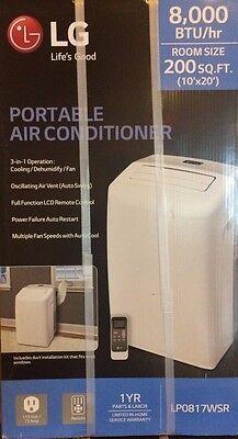 NEW LG Electronics 8,000 BTU Portable Air Conditioner/Dehumid (White) LP0817WSR