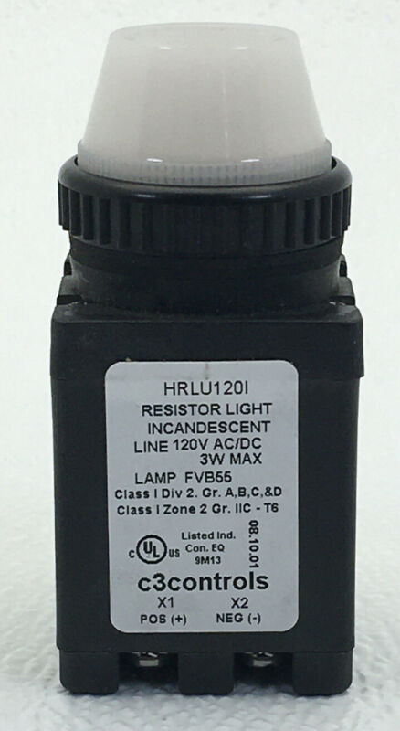 HRLU120I-PLLWE C3 Indicating, Resistor, 120V AC/DC, Clear Incandescent, Black Po