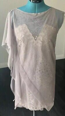 NWT $498 Bcbg Max Azria Runway One Shoulder Lace Mesh Draped Dress Sz XXS-XS