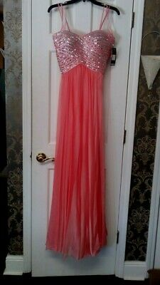 NEW La Femme Coral Gown Sequin Strapless Formal Dress #18342 Size 2 NWT, Juniors Strapless Formal Gown