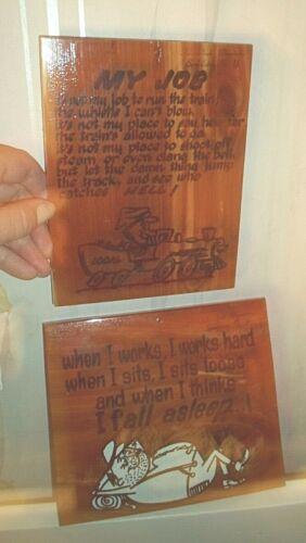 Set of 2 VTG Cedar Sign Plaque Souvenir of Speculator, NY, Adirondack Mt Humor