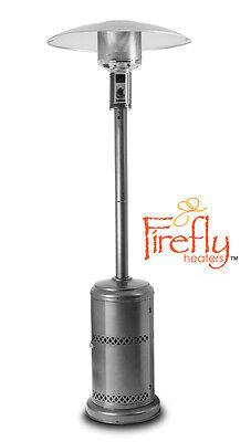 Gas Patio Heater Freestanding Silver Powder Coated Steel Firefly Outdoor 12kW