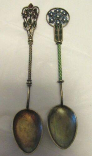 2 Antique Marius Hammer PLIQUE a JOUR Demitasse SPOONS Sterling Silver & Enamel