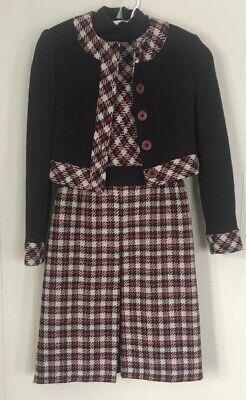 Vintage 60s Wool Plaid Dress & Jacket Sz 4 Mad Men Peggy Alan Philips Ithaca NY