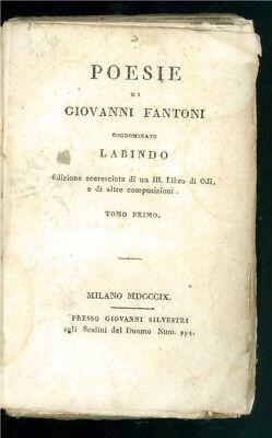 FANTONI GIOVANNI COGNOMINATO LABINDO POESIE GIOVANNI SILVESTRI 1809 2 VOLUMI