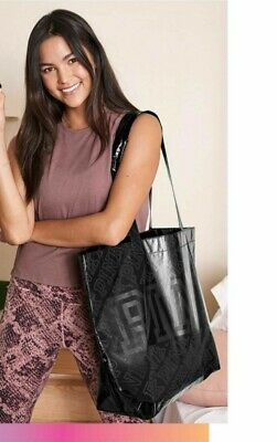 VICTORIA'S SECRET PINK BLACK REUSABLE ECO TOTE GYM BEACH SHOPPING BAG NWT comprar usado  Enviando para Brazil