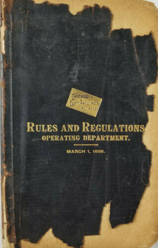 Chicago Eastern Illinois Railroad Rules Regulations Antique 1898 Operating Dept
