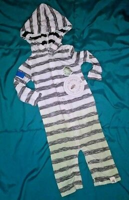 Burts Bees Baby Boy Size 0-3 Months Striped Dip Dye Long Sleeve Hooded Coverall