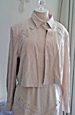 CROPPED JACKET/SILK MIDI SKIRT SET TOP HAS PADDED SHOULDER VINTAGE 70s TAN/BEIGE