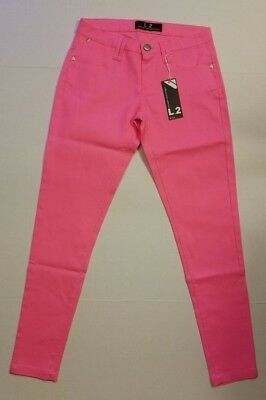 L*2 Hot Pink Neon Skinny Pants Juniors Size 3/4 5/6 & 7/8 NWT *FAST SHIPPING*
