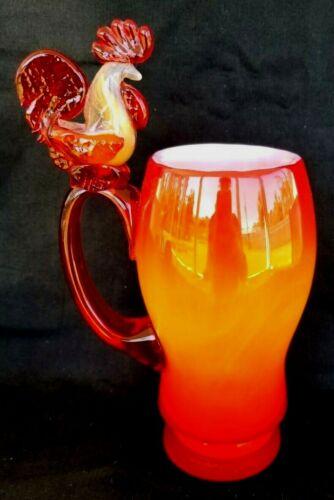 BLOWN STUDIO ART GLASS TANKARD MUG ROOSTER HANDLE AMBERINA OPALESCENT RARE